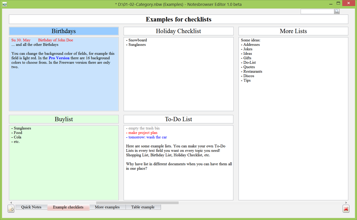 Notesbrowser Editor English