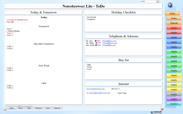 Screenshot of Notesbrowser Lite :: Screenshot 1/5
