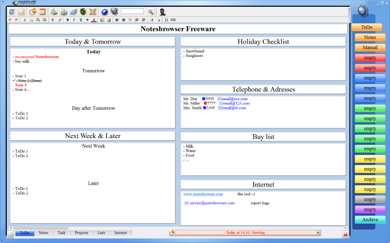 Click to view Notesbrowser Freeware English screenshots